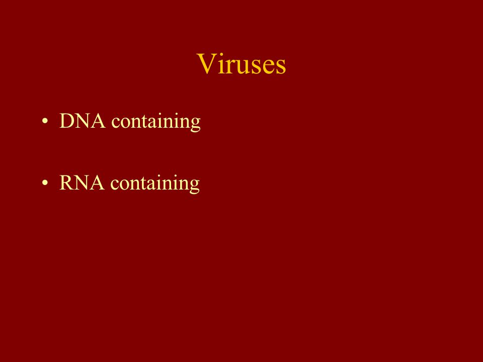 Viruses DNA containing RNA containing