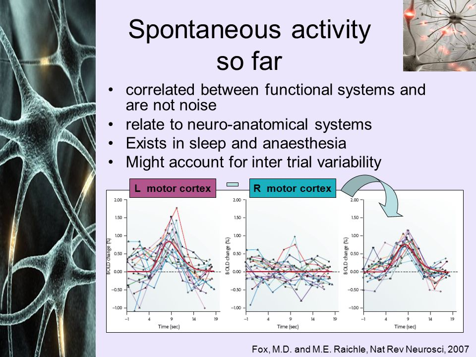 correlated between functional systems and are not noise relate to neuro-anatomical systems Exists in sleep and anaesthesia Might account for inter trial variability Spontaneous activity so far Fox, M.D.