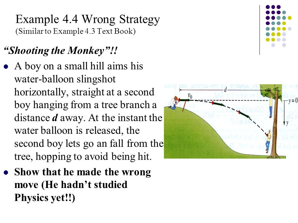 "Example 4.4 Wrong Strategy (Similar to Example 4.3 Text Book) ""Shooting the Monkey""!! A boy on a small hill aims his water-balloon slingshot horizonta"