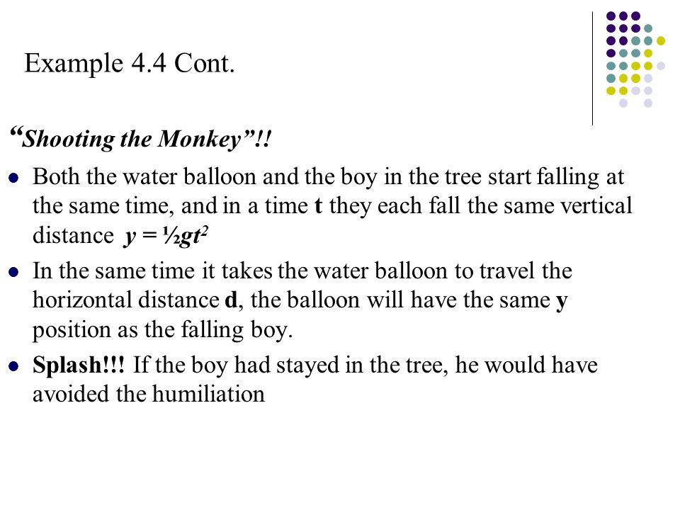 "Example 4.4 Cont. "" Shooting the Monkey""!! Both the water balloon and the boy in the tree start falling at the same time, and in a time t they each fa"