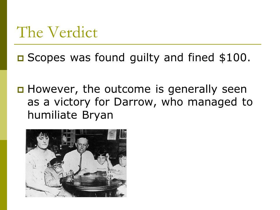 The Verdict  Scopes was found guilty and fined $100.