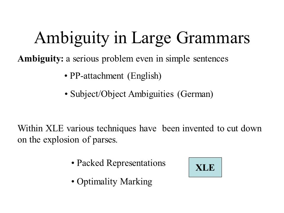 Ambiguity in Large Grammars Ambiguity: a serious problem even in simple sentences PP-attachment (English) Subject/Object Ambiguities (German) Within XLE various techniques have been invented to cut down on the explosion of parses.