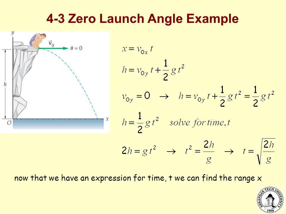 4-3 Zero Launch Angle Example now that we have an expression for time, t we can find the range x