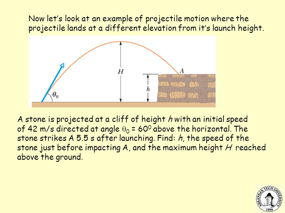 Now let's look at an example of projectile motion where the projectile lands at a different elevation from it's launch height.