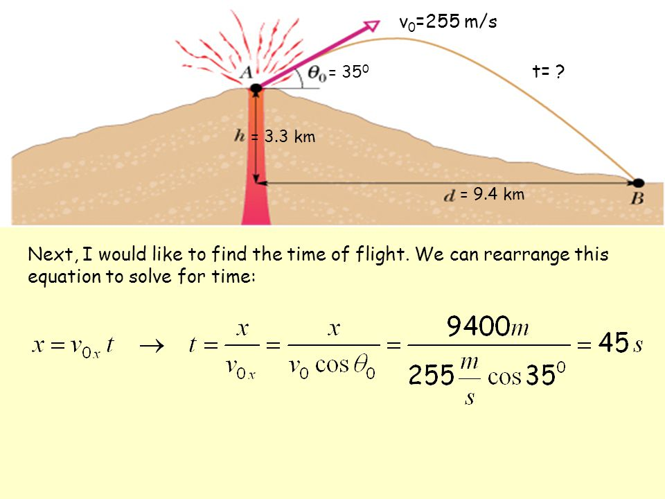 = 35 0 = 9.4 km = 3.3 km v 0 =255 m/s Next, I would like to find the time of flight. We can rearrange this equation to solve for time: t= ?