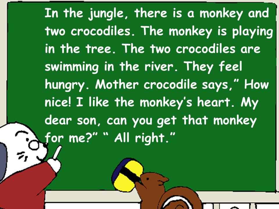 In the jungle, there is a monkey and two crocodiles.
