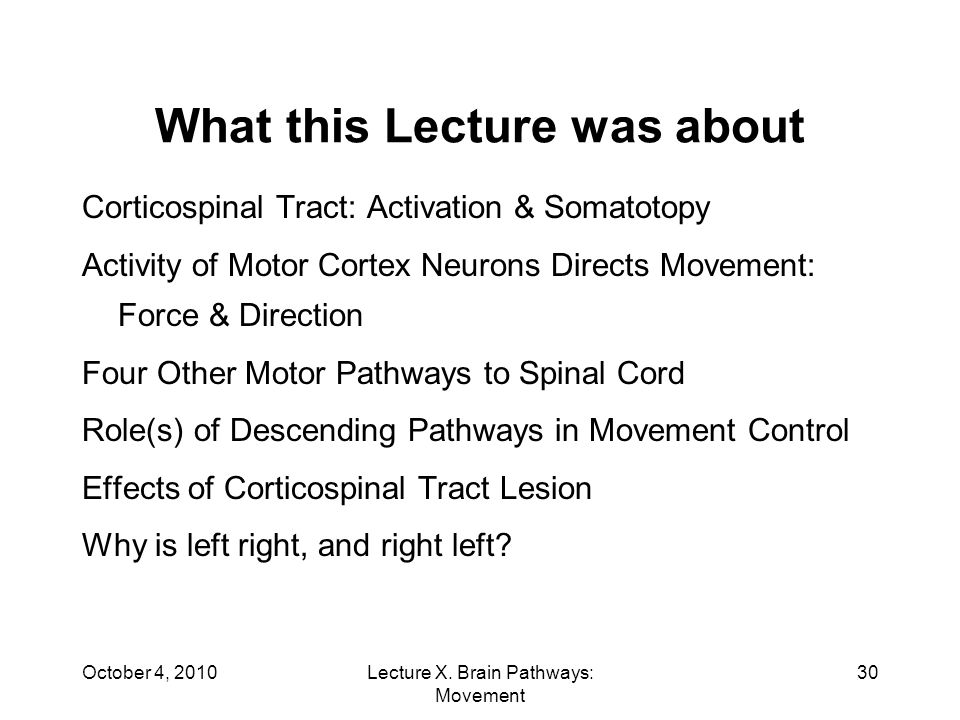 October 4, 2010Lecture X.