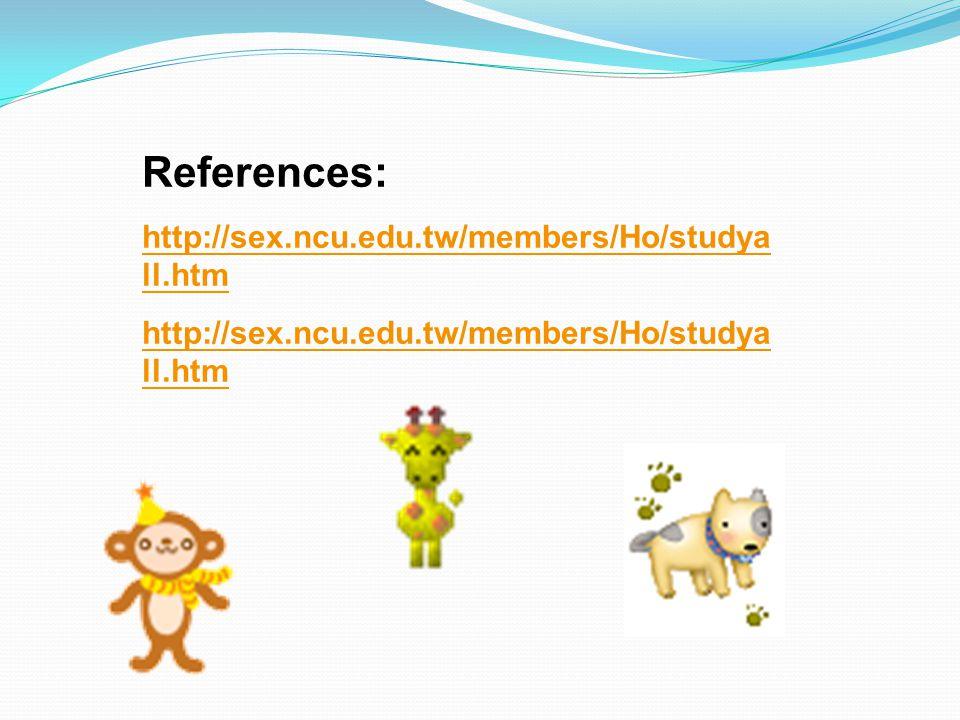 References: http://sex.ncu.edu.tw/members/Ho/studya ll.htm http://sex.ncu.edu.tw/members/Ho/studya ll.htm