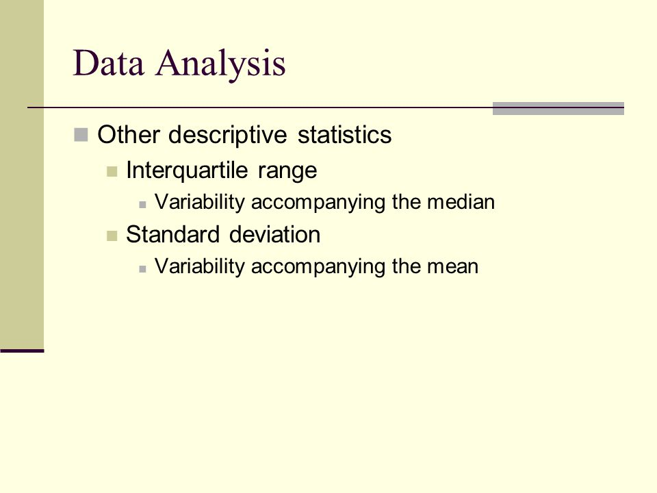 Data Analysis Other descriptive statistics Interquartile range Variability accompanying the median Standard deviation Variability accompanying the mea