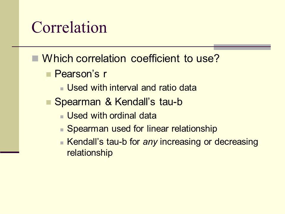 Correlation Which correlation coefficient to use.
