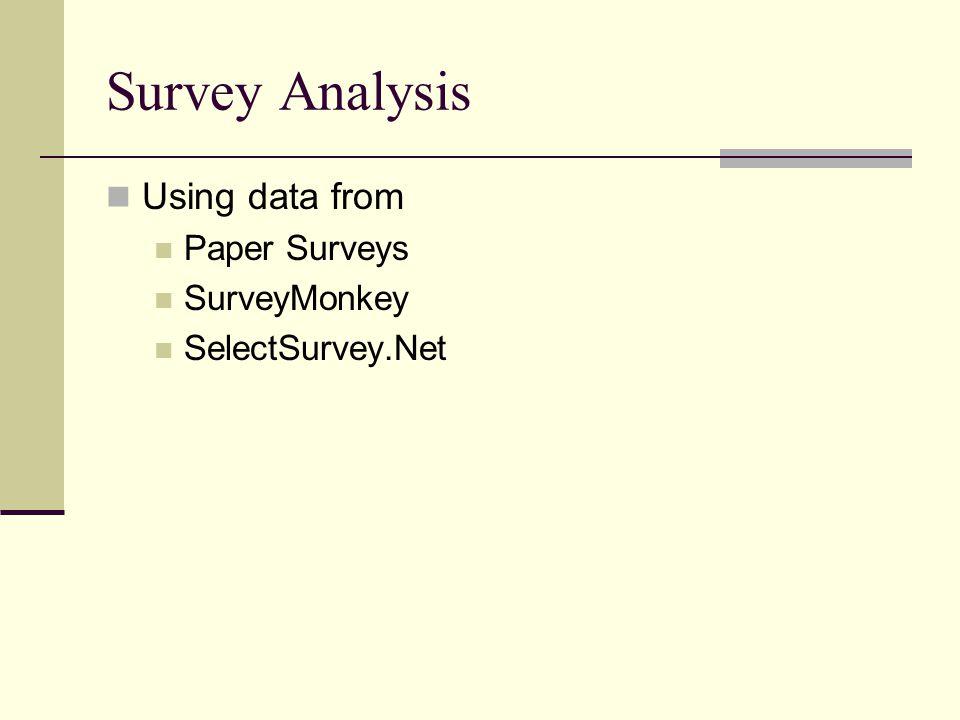 Survey Analysis Using data from Paper Surveys SurveyMonkey SelectSurvey.Net