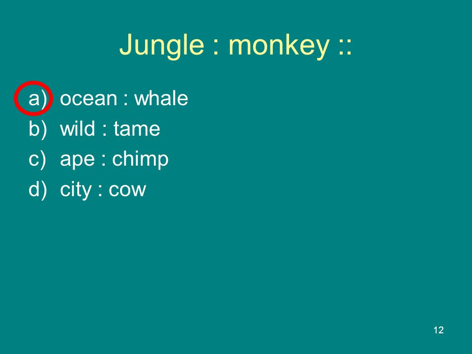 12 Jungle : monkey :: a)ocean : whale b)wild : tame c)ape : chimp d)city : cow
