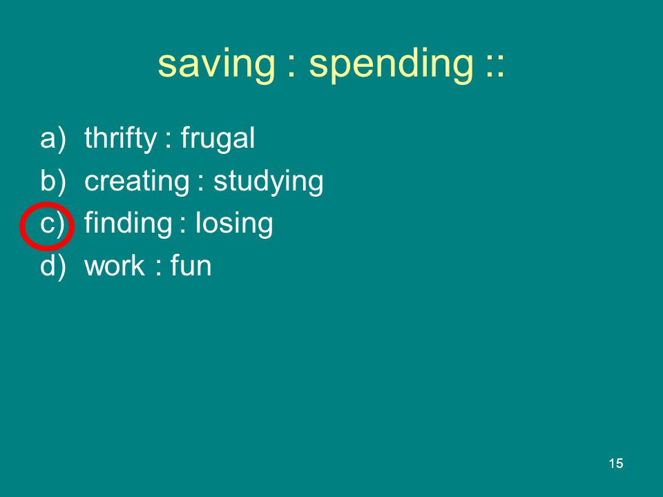 15 saving : spending :: a)thrifty : frugal b)creating : studying c)finding : losing d)work : fun