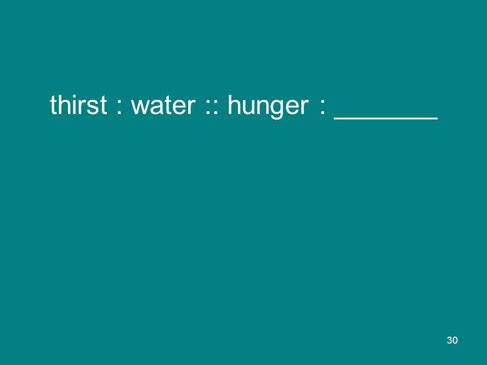 30 thirst : water :: hunger : _______