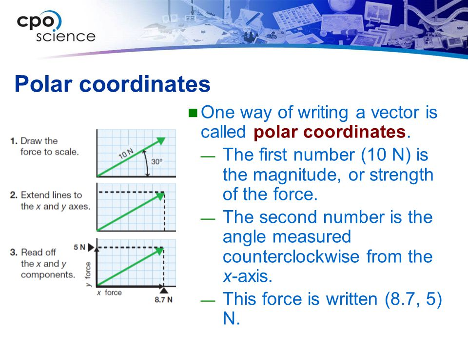 Polar coordinates One way of writing a vector is called polar coordinates.