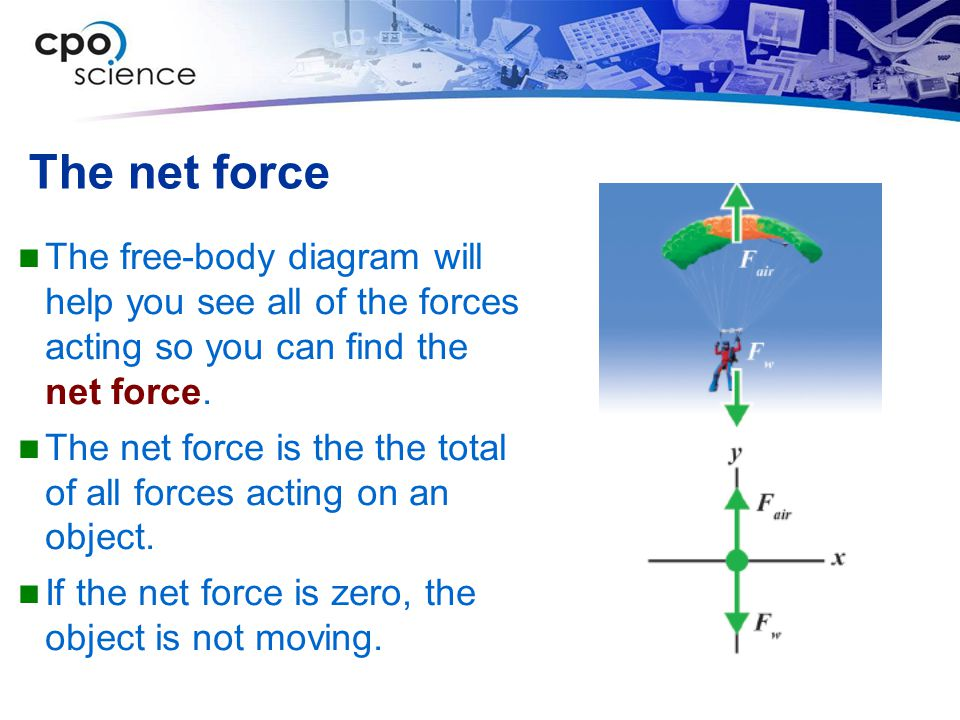 The net force The free-body diagram will help you see all of the forces acting so you can find the net force.