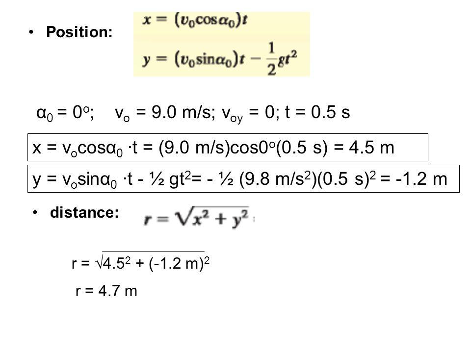 Position: α 0 = 0 o ;v o = 9.0 m/s; v oy = 0; t = 0.5 s y = v o sinα 0 ∙t - ½ gt 2 = - ½ (9.8 m/s 2 )(0.5 s) 2 = -1.2 m x = v o cosα 0 ∙t = (9.0 m/s)c