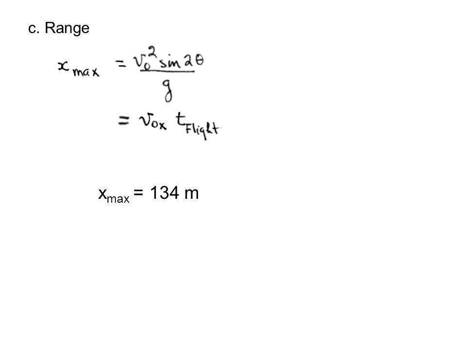 c. Range x max = 134 m