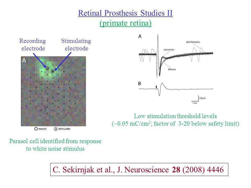 Retinal Prosthesis Studies II (primate retina) C. Sekirnjak et al., J.