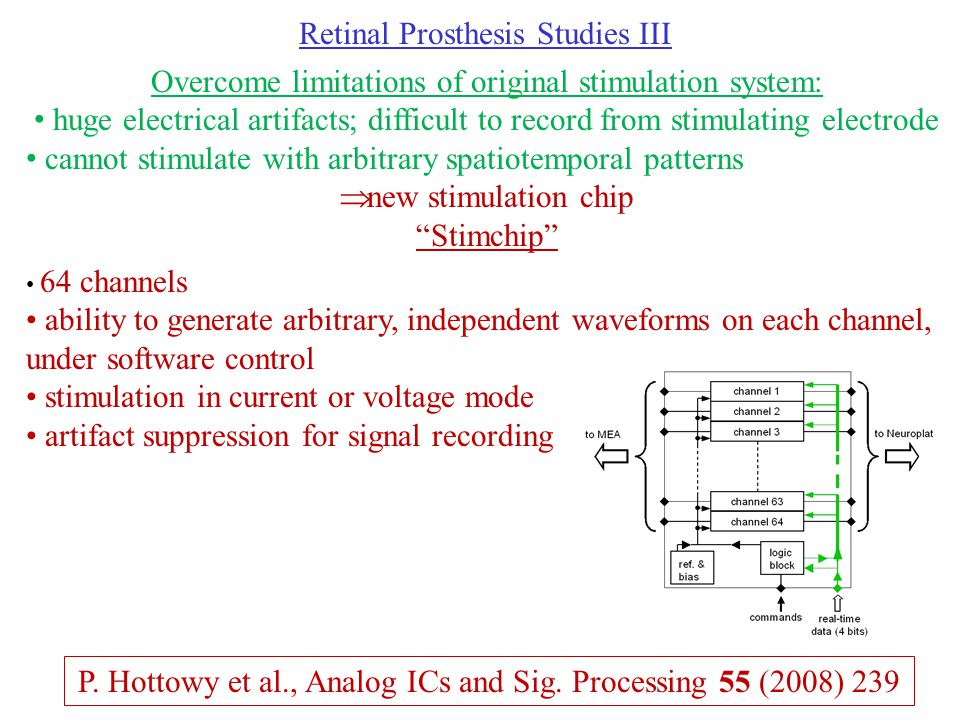 Retinal Prosthesis Studies III Overcome limitations of original stimulation system: huge electrical artifacts; difficult to record from stimulating electrode cannot stimulate with arbitrary spatiotemporal patterns  new stimulation chip Stimchip 64 channels ability to generate arbitrary, independent waveforms on each channel, under software control stimulation in current or voltage mode artifact suppression for signal recording P.