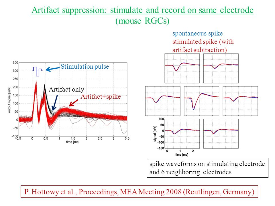 P. Hottowy et al., Proceedings, MEA Meeting 2008 (Reutlingen, Germany) Artifact suppression: stimulate and record on same electrode (mouse RGCs) spont