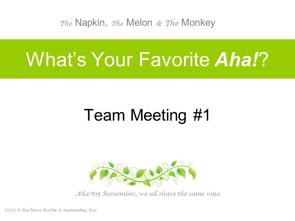 2010 © Barbara Burke & Associates, Inc. What's Your Favorite Aha!? Team Meeting #1 Aha! #15 Remember, we all share the same vine. The Napkin, The Melo