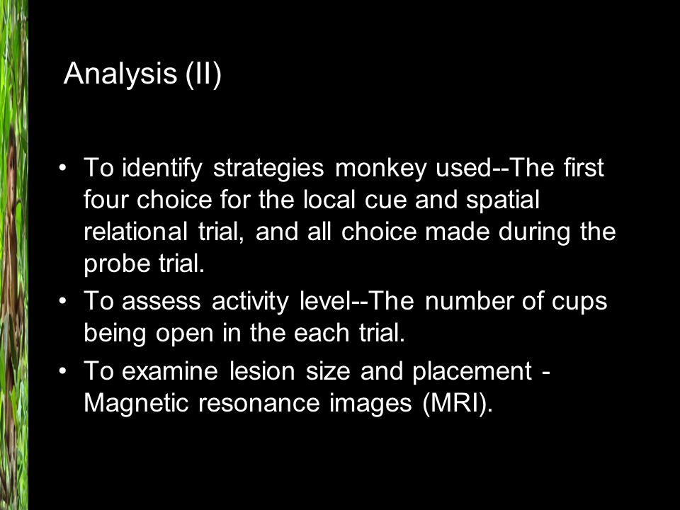 To identify strategies monkey used--The first four choice for the local cue and spatial relational trial, and all choice made during the probe trial.