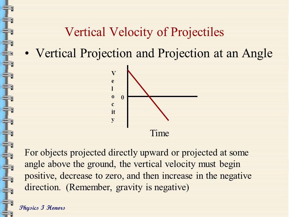 Physics I Honors Horizontal Velocity of Projectiles Horizontal Projection and Projection at an Angle The horizontal velocity of a projectile remains c