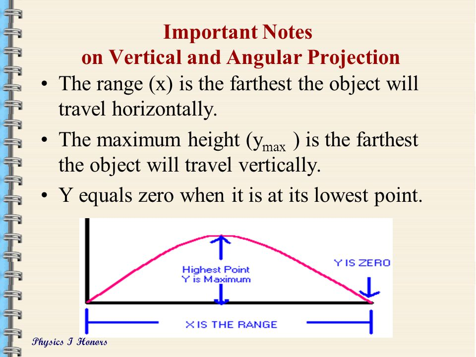 Physics I Honors Vertical Acceleration of Projectiles Vertical acceleration is the result of the pull of gravity, (-9.8 m/s 2 ) This is the same on th