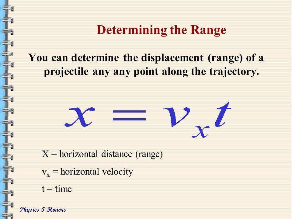 Physics I Honors Important Notes on Vertical and Angular Projection The range (x) is the farthest the object will travel horizontally. The maximum hei