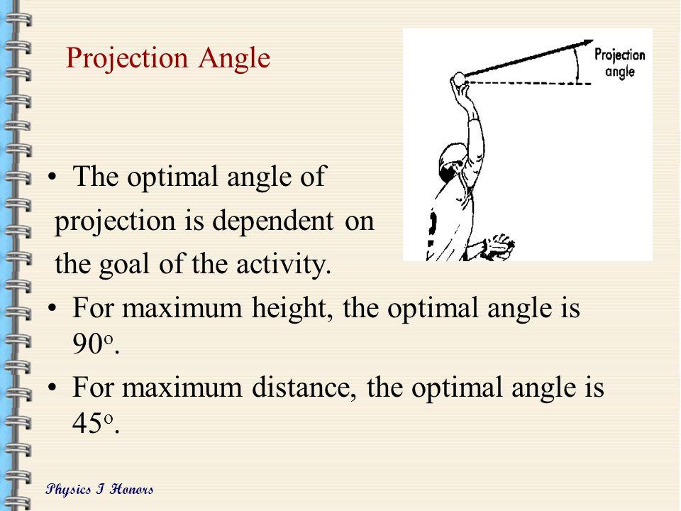 Physics I Honors Projection angle –aka release angle or take-off angle Projection velocity –aka initial or take-off velocity Projection height –aka ab