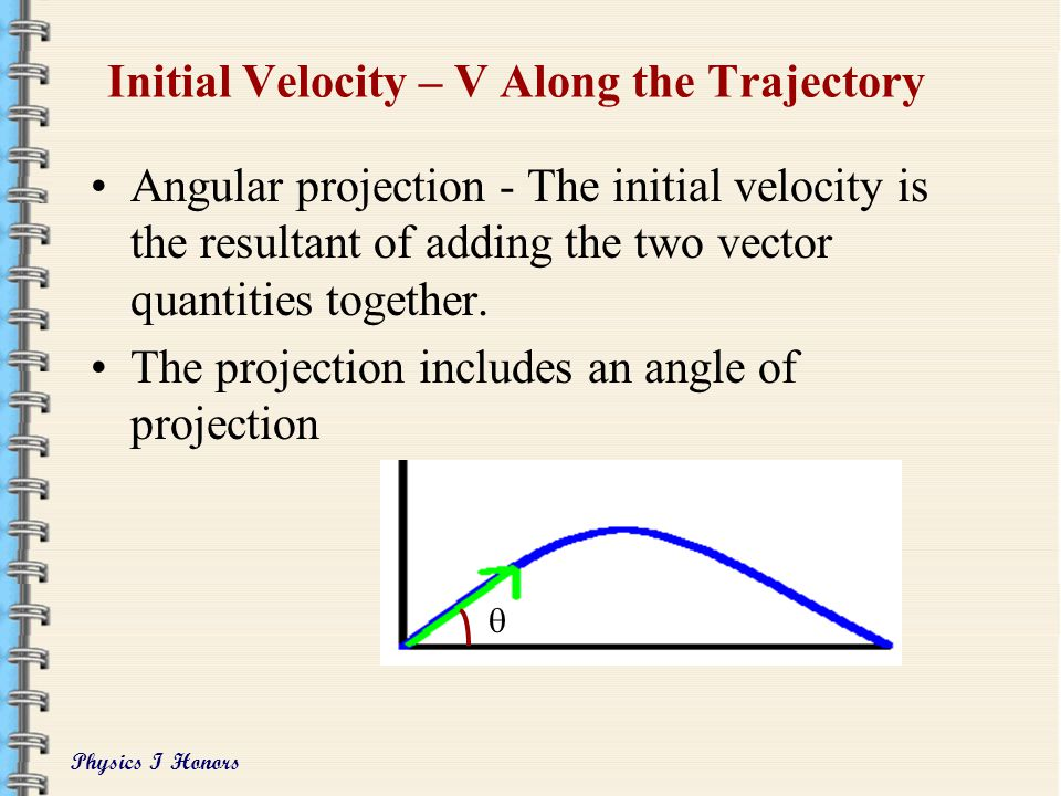 Physics I Honors Real Motion is the Combination of the Horizontal and Vertical Motions The blue dot show the real motion The path taken is the traject