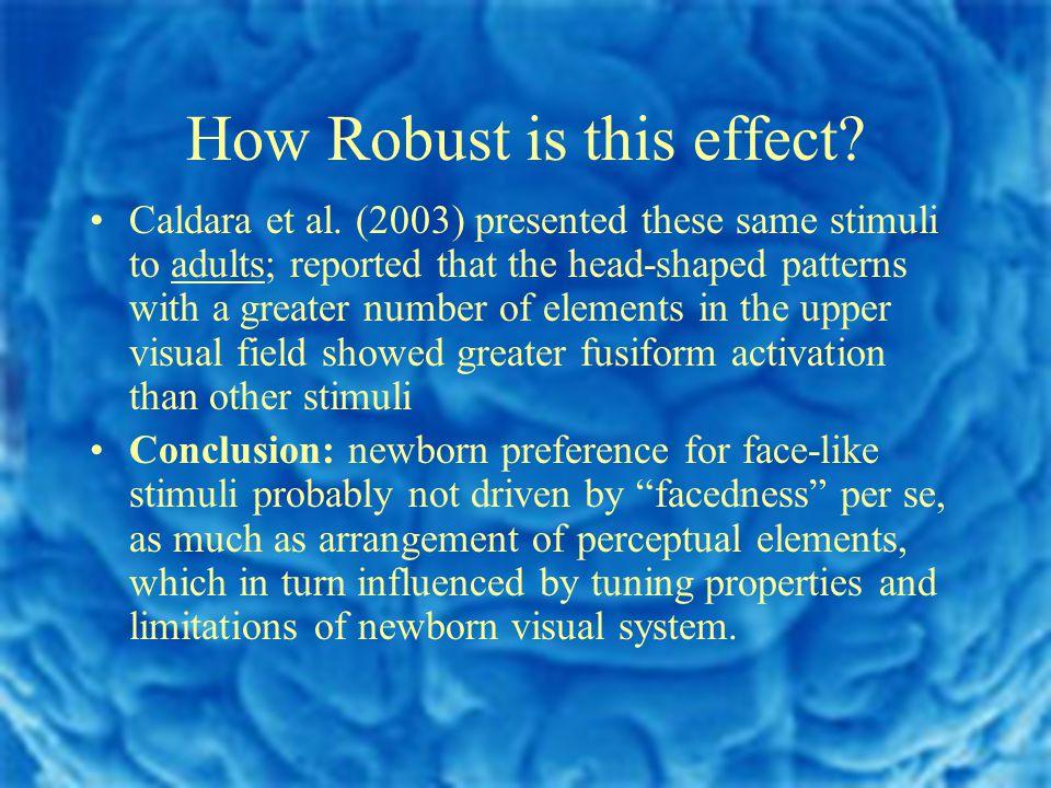 How Robust is this effect. Caldara et al.