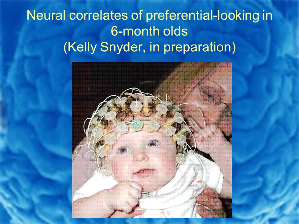 Neural correlates of preferential-looking in 6-month olds (Kelly Snyder, in preparation)