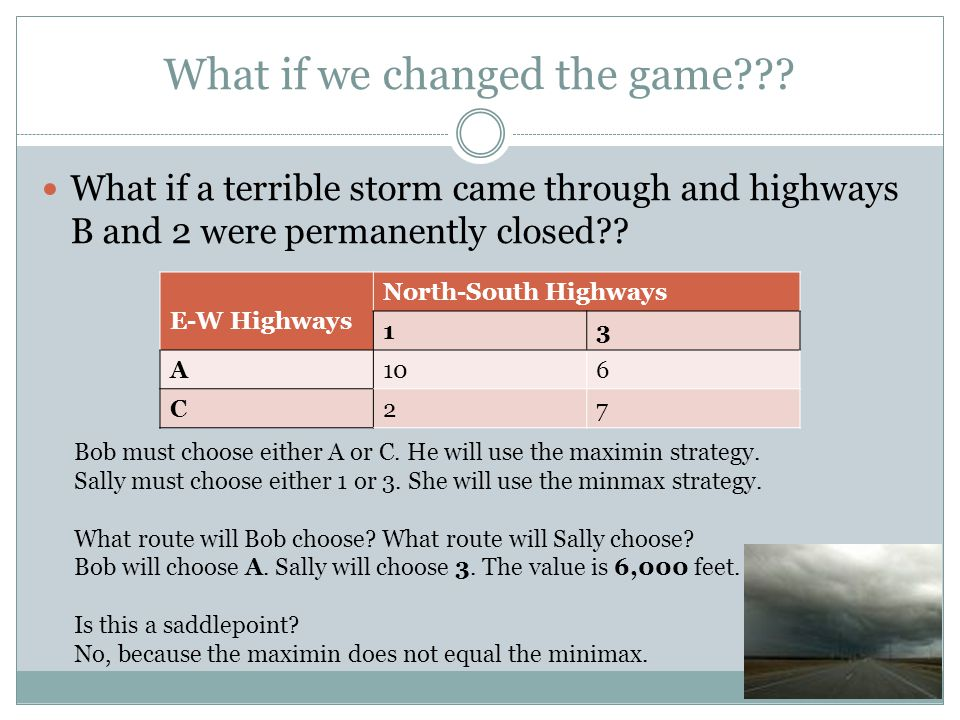 What if we changed the game??? What if a terrible storm came through and highways B and 2 were permanently closed?? E-W Highways North-South Highways