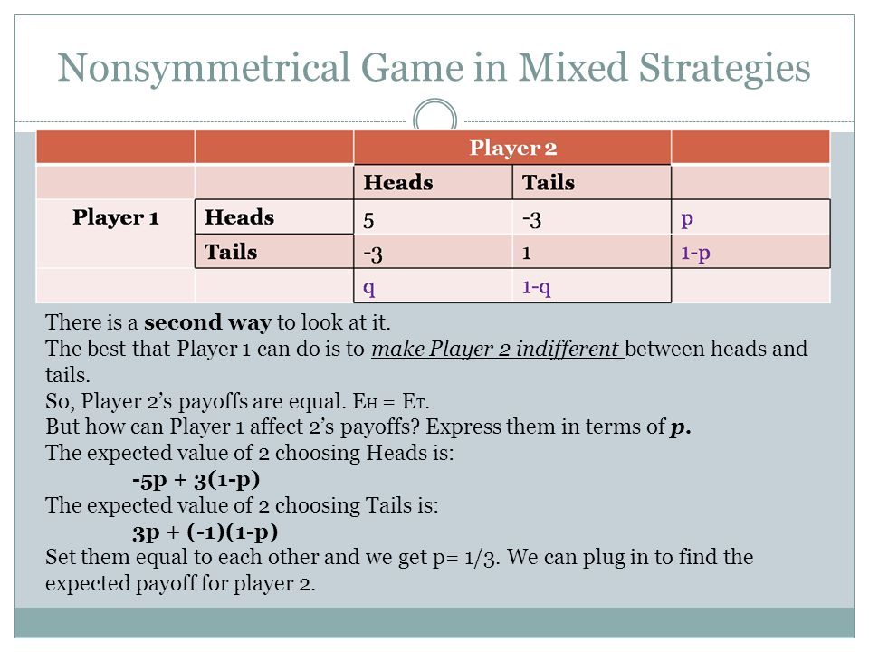 Nonsymmetrical Game in Mixed Strategies There is a second way to look at it. The best that Player 1 can do is to make Player 2 indifferent between hea