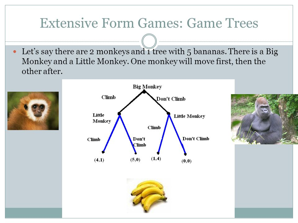 Extensive Form Games: Game Trees Let's say there are 2 monkeys and 1 tree with 5 bananas. There is a Big Monkey and a Little Monkey. One monkey will m