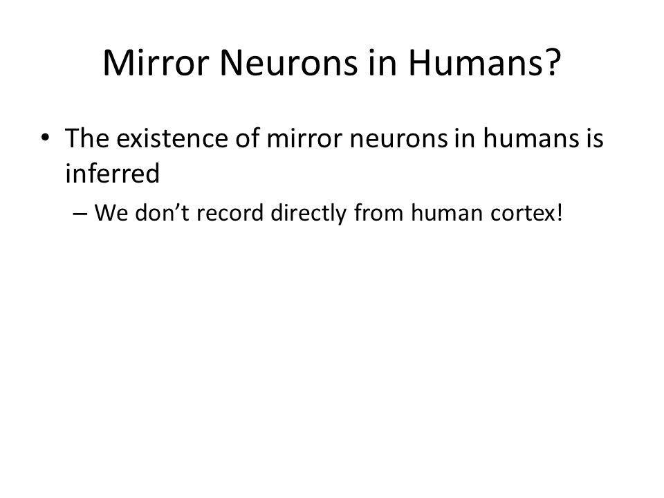 Mirror Neurons in Humans? The existence of mirror neurons in humans is inferred – We don't record directly from human cortex!