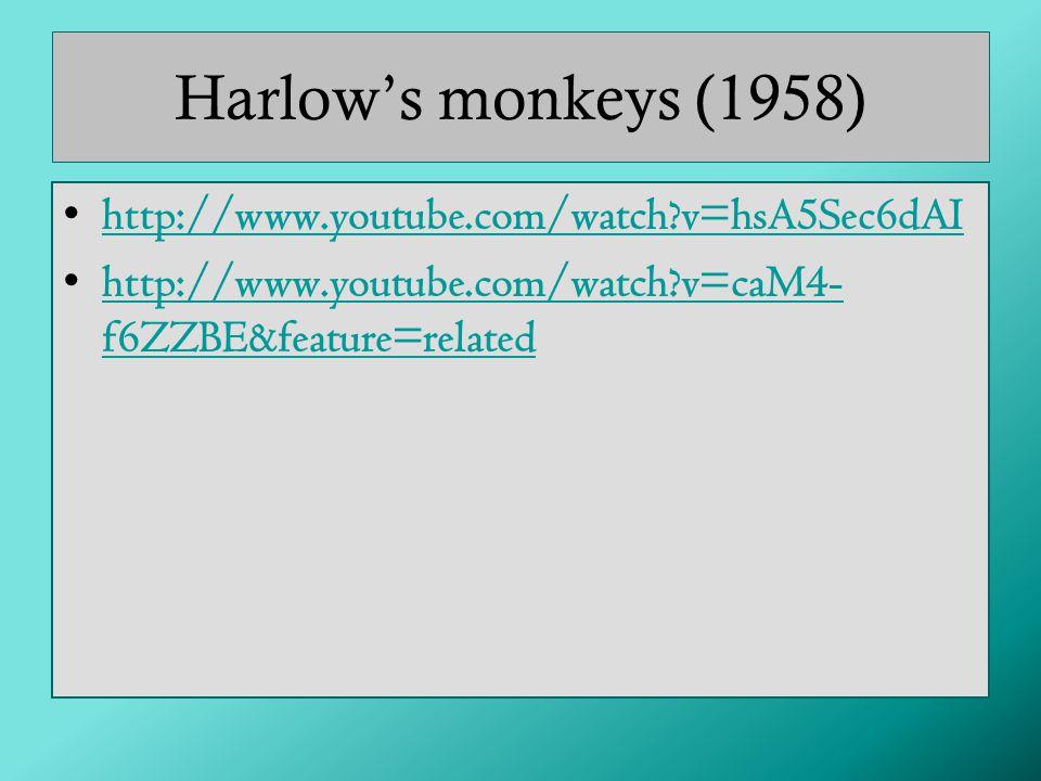 Harlow's monkeys (1958) http://www.youtube.com/watch?v=hsA5Sec6dAI http://www.youtube.com/watch?v=caM4- f6ZZBE&feature=relatedhttp://www.youtube.com/watch?v=caM4- f6ZZBE&feature=related