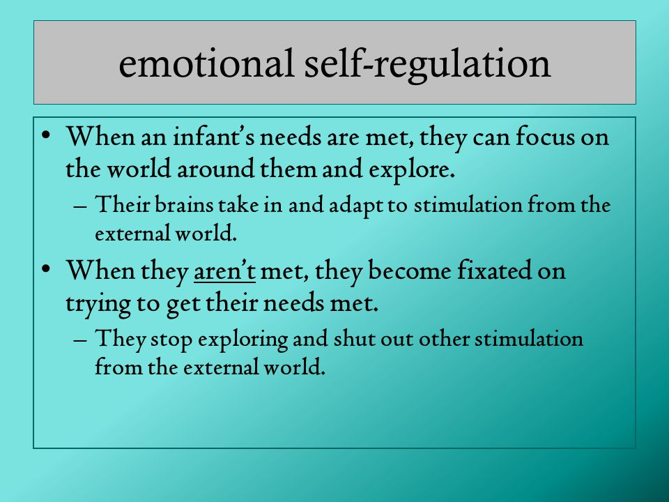 emotional self-regulation When an infant's needs are met, they can focus on the world around them and explore.