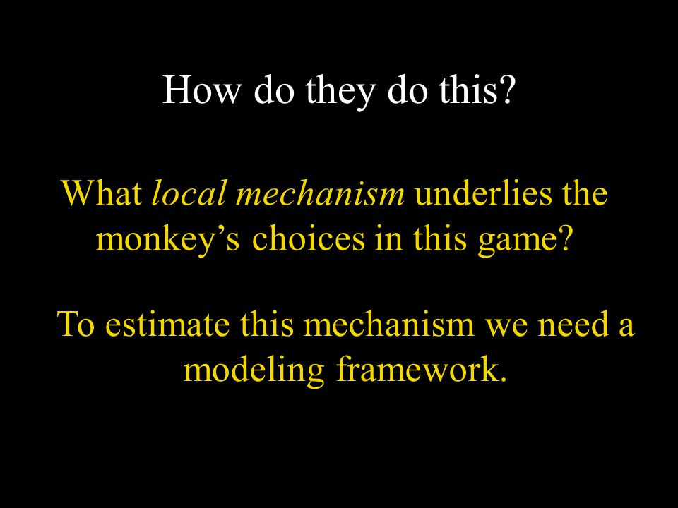 How do they do this? What local mechanism underlies the monkey's choices in this game? To estimate this mechanism we need a modeling framework.