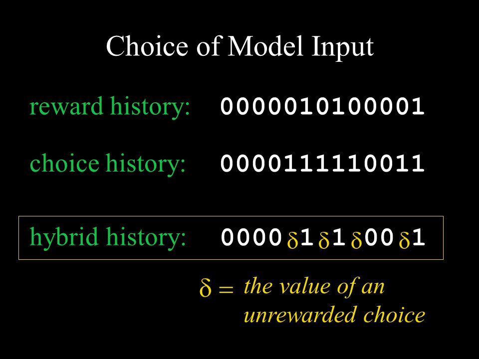 0000111110011 choice history: 0000010100001 reward history:  the value of an unrewarded choice hybrid history: 0000010100001  Choice of Model Input