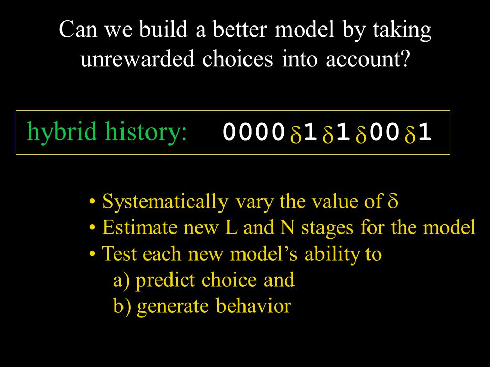 Systematically vary the value of  Estimate new L and N stages for the model Test each new model's ability to a) predict choice and b) generate behavi