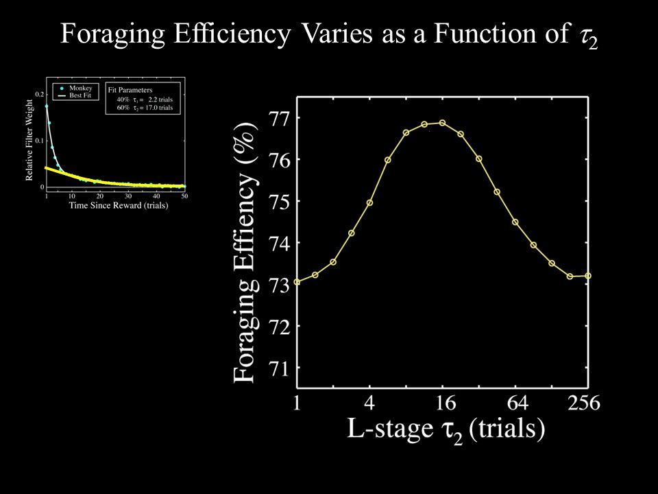 Foraging Efficiency Varies as a Function of  2