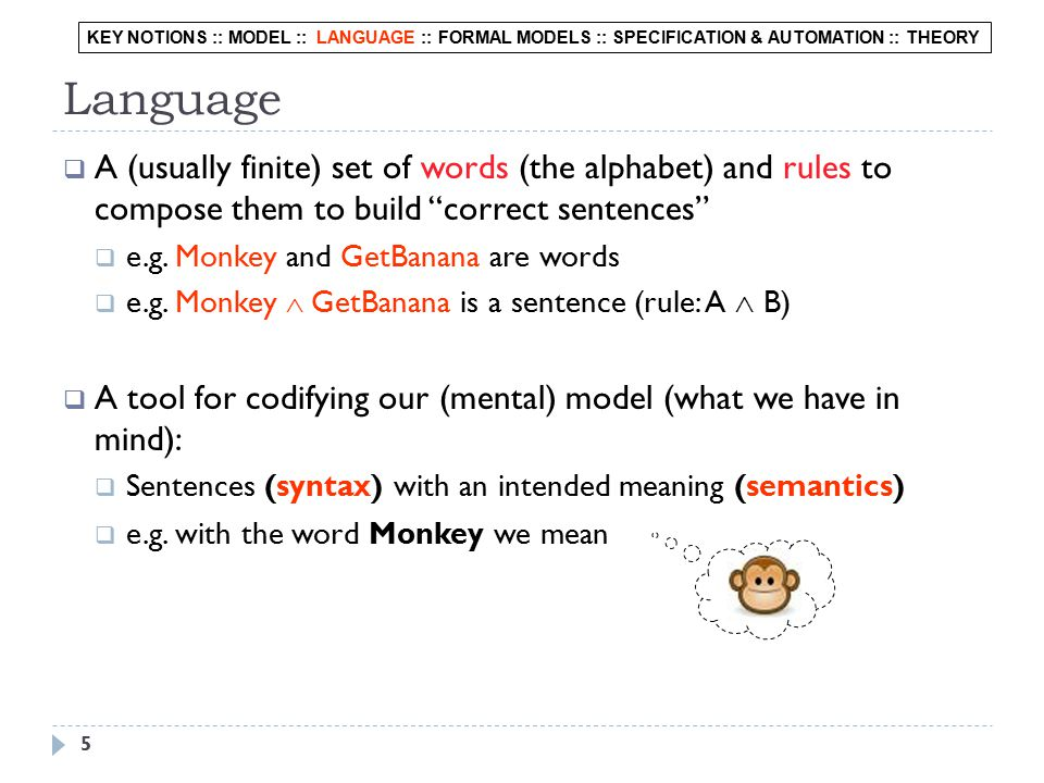 5  A (usually finite) set of words (the alphabet) and rules to compose them to build correct sentences  e.g.