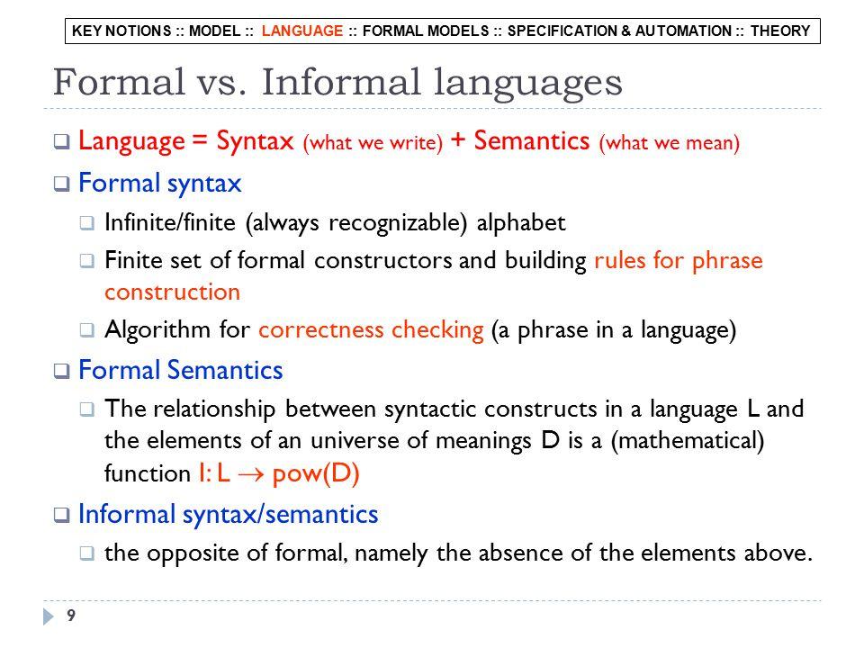 Levels of Formalization Logics Diagrams NL Programming Languages English Italian Russian Hindi...