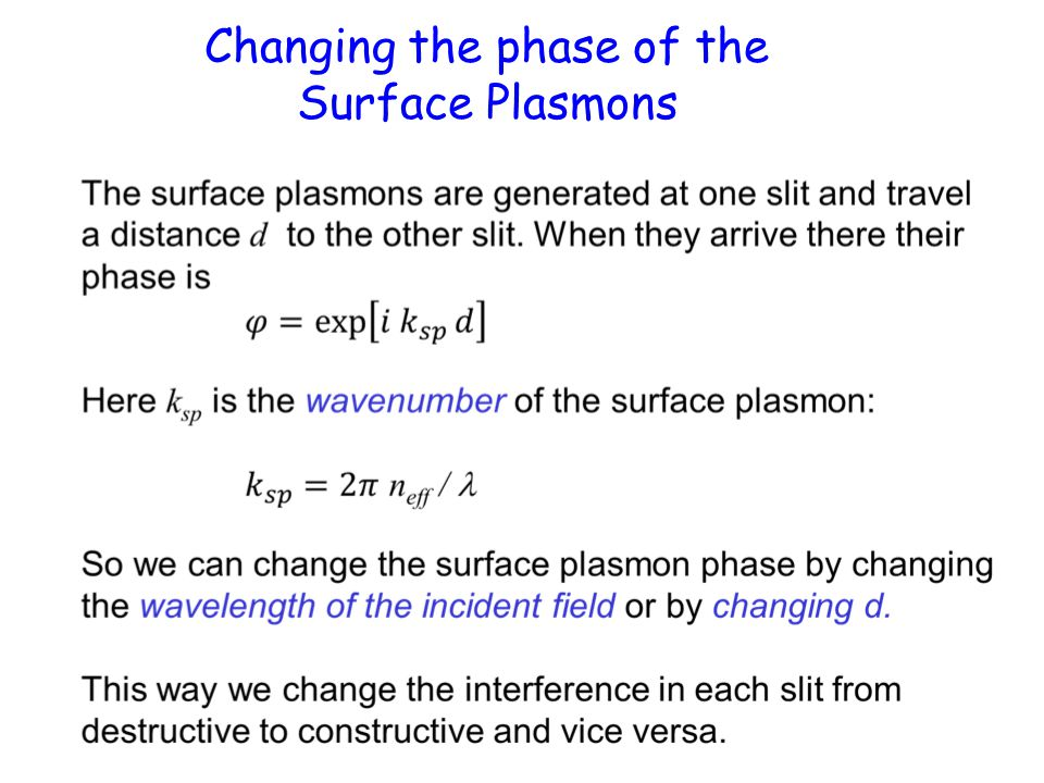 Changing the phase of the Surface Plasmons