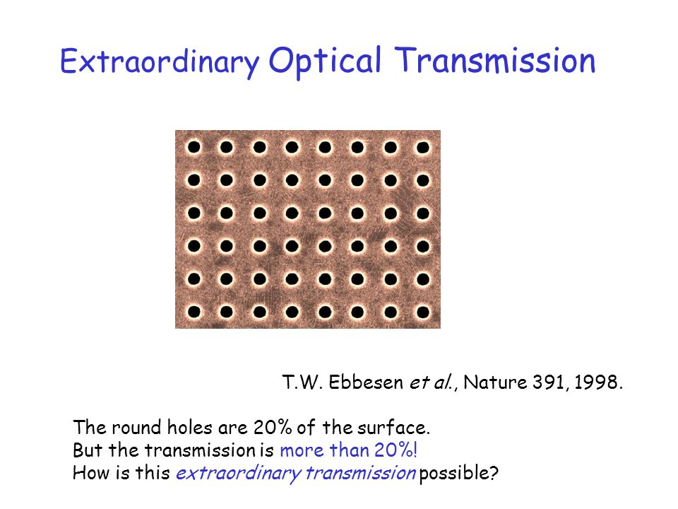 T.W. Ebbesen et al., Nature 391, 1998. The round holes are 20% of the surface. But the transmission is more than 20%! How is this extraordinary transm