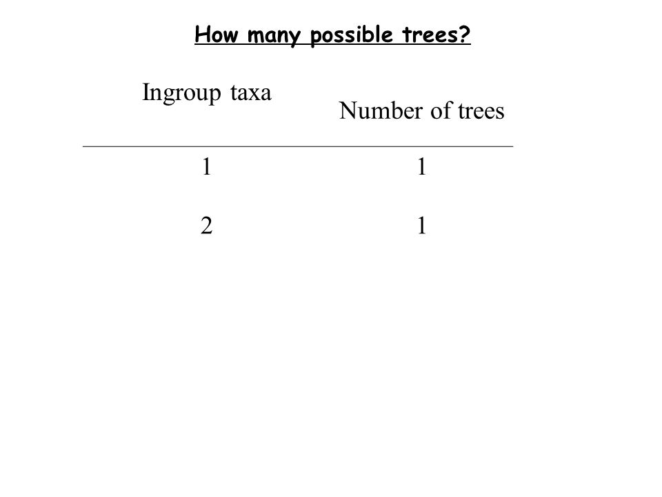 How many possible trees Ingroup taxa Number of trees 11 21