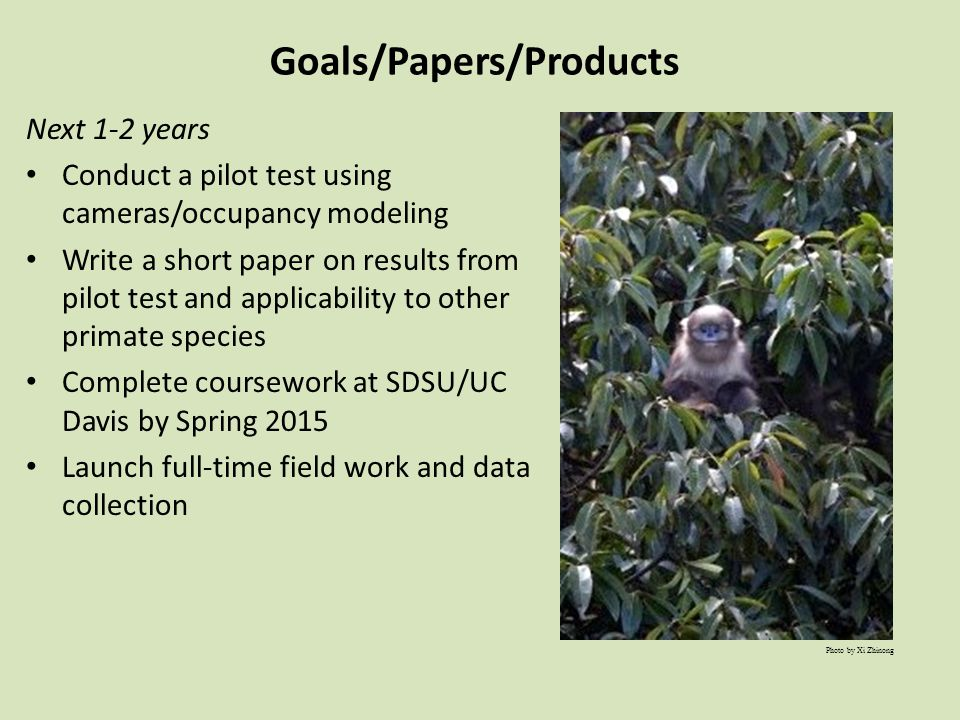 Goals/Papers/Products Next 1-2 years Conduct a pilot test using cameras/occupancy modeling Write a short paper on results from pilot test and applicability to other primate species Complete coursework at SDSU/UC Davis by Spring 2015 Launch full-time field work and data collection Photo by Xi Zhinong